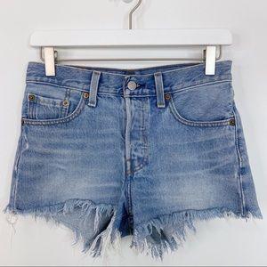 Levi's 501 Button Fly Cut Off Frayed Denim Shorts